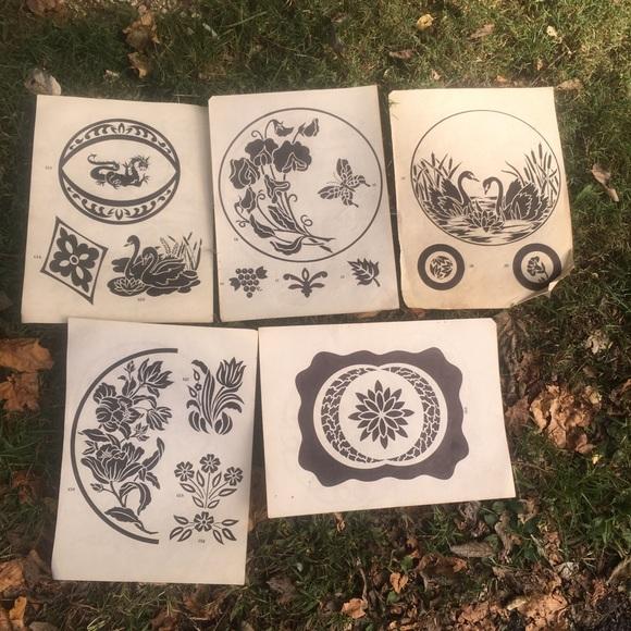 Vintage Etching Designs Swan Dragon Flowers  Trees